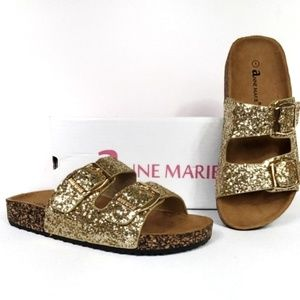 NEW Gold Glitter Slip-On Sandals NWT NIB